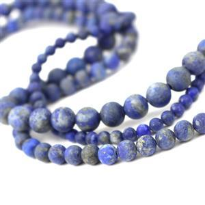 """390cts Lapis Lazuli Frosted Rounds Approx 4, 6, 8mm, 15"""" Strands"""