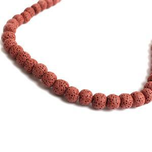 130cts Red Lava Rock Beads Round 8-9mm 15-16""
