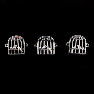 925 Sterling Silver Love Bird Cage Connectors Approx 12x14mm 3pcs