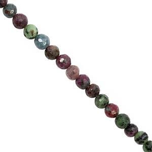 95cts Ruby Zoisite Graduated Faceted Round Approx 4 to 6mm, 32cm Strand