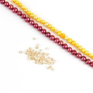 Caramel Apple. Inc Red & Gold Freshwater Cultured Potato Pearls & Golden Swarovski Bicones