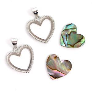 925 Sterling Silver Heart Bezel Pendants Approx 17x21mm (2pcs) & Abalone Heart Cabochon (2pcs) Approx 14x15mm