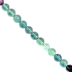 160cts Green Blue Flourite Smooth Round Approx 7.50 to 8mm, 30cm Strand