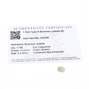 1.7cts Type A Burmese Jadeite 8x6mm Cushion  (N)