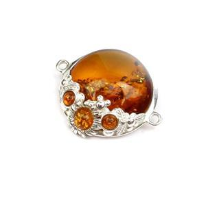 Baltic Cognac Amber Sterling Silver Spring Flowers Connector, Approx. 22x27mm