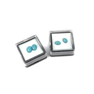 2.4cts Sleeping Beauty Turquoise Cabochon Ovals 8x6mm & 7x5mm Loose Gemstones (Packs of 2)