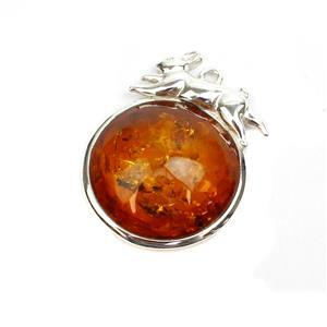 Baltic Cognac Amber Sterling Silver Hare Pendant, Approx. 21x27mm