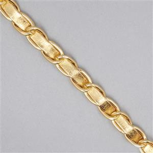 Gold Faux Leather Aluminum Alloy Chain 12.5x8mm Approx 3metres
