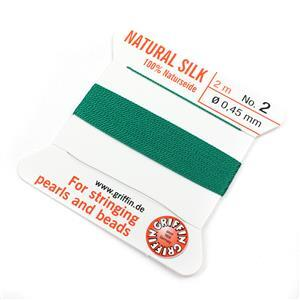 Silk Thread, Size 02 (.45 mm, .018 in) - Green, with needle, 2 m (6.5 ft)