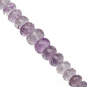 65cts Rose De France Pink Amethyst Graduated Faceted Rondelle Approx 4x2 to 9x5.5mm, 18cm Strand