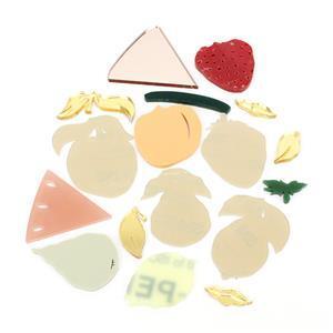 Acrylic Fruit Brooch Pack: Inc x1 Watermelon, x1 Peach, x1 Lemon, x1 Pear & x1 Strawberry