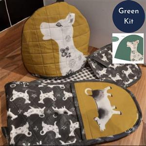 Debbie Shore's Green Cow Creamer Kitchen Set Kit: Instructions & Panel