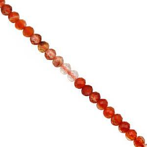 8cts Multi-Colour Carnelian Micro Faceted Round Approx 2mm, 31cm Strand