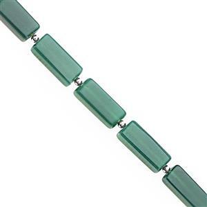82cts Green Onyx Smooth Slice Bars Approx 16x7 to 28.5x9mm, 16cm Strand with Spacers