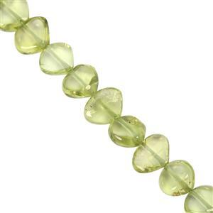 48cts American Peridot Center Drill Plain Heart Approx 5x5.5 to 6x7.5mm, 33cm Strand