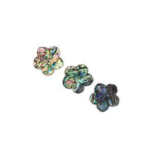 Abalone Five-Petal Flowers Pendant Approx 40mm, Pack of 3