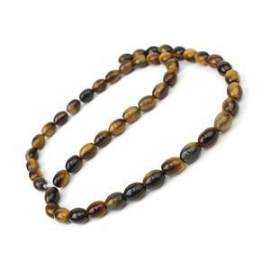 100cts Tiger Eye Rice Beads Approx 8x6mm, 38cm Strand