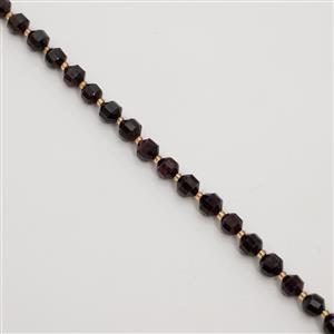 190cts Garnet Faceted Satellite Beads Approx 7x8mm, 38cm Strand