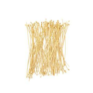 Gold Plated 925 Sterling Silver Featherweight Head Pins - 40mm with 1mm Ball - (100pcs/pk)