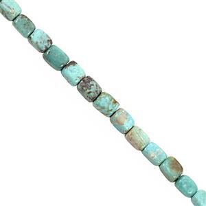 34cts Turquoise Smooth Cube Approx 5.5x3 to 6x4.5mm, 20cm Strand