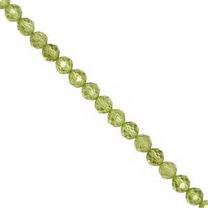 42cts Peridot Faceted Round Approx 4mm, 28cm Strand
