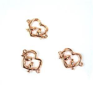 Rose Gold Plated 925 Sterling Silver Entwined Love Birds Connectors Approx 11x16mm 3pcs