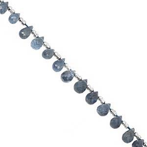 16cts Santa Maria Aquamarine Top Side Drill Graduated Faceted Drops Approx 3x2 to 7x4.5mm, 20cm Strand with Spacers