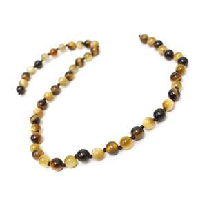 85cts Gold & Yellow Tiger's Eye Plain Rounds Approx 6mm, 38cm 2 Tone Strand