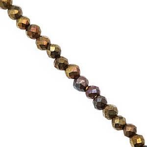 8cts Mystic Yellow Coated Spinel Micro Faceted Round Approx 2mm, 30cm Strand