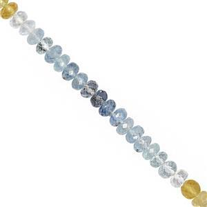 38cts Multi-Colour Beryl Faceted Rondelle Approx 4x2 to 5x3.5mm, 20cm Strand