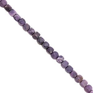 65cts Mongolian Flourite Faceted Cube Approx 3.50 to 4mm, 38cm Strand