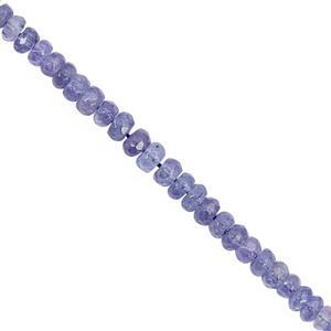 22cts Tanzanite Graduated Faceted Rondelle Approx 3x1.5 to 4x2mm, 17cm Strand with Spacers
