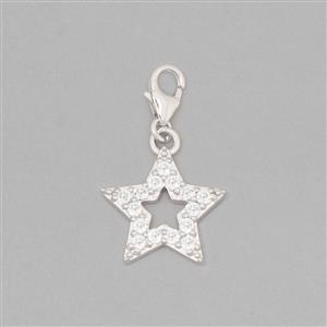 925 Sterling Silver Star Charm With Lobster Lock Approx 27x16mm Inc. 0.68cts White Topaz Brilliant Round Approx 2mm