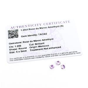 1.2cts Rose du Maroc Amethyst Round Brilliant 5x5mm