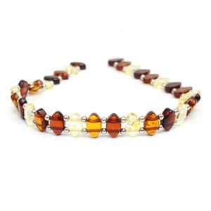 Baltic Multi Colour Amber Double Drilled Oval Bead Strand With Sterling Silver Spacers Approx 8x5mm, 20cm Strand (Cognac, Cherry, Lemon)