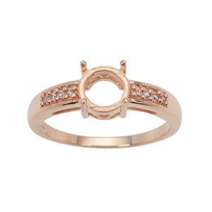 Rose Gold Plated 925 Sterling Silver Round Ring Mount (To fit 7mm gemstone) Inc. 0.10cts White Zircon Brilliant Cut Round 1.20mm - 1pcs