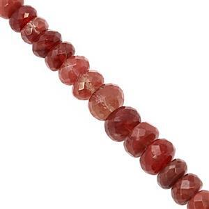 25cts Red Andesine Graduated Faceted Rondelles Approx 3.5x2 to 6.5x3mm, 12cm Starnd