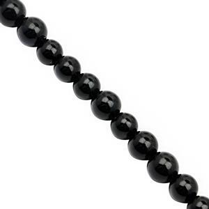 32cts Black Onyx Smooth Round Approx 4mm, 30cm Strand