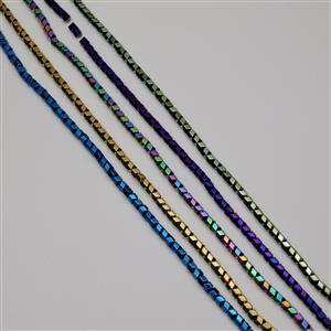 1175cts Multi-Colour Haematite Fancy Faceted Beads 6mm, 38cm Strands (Set of 5)