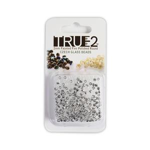 True2 Crystal Silver Rainbow Fire Polish Beads, Approx 2mm (2GM)