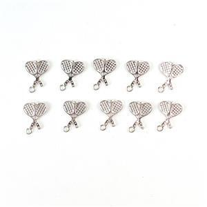 Silver Plated Brass Tennis Racket Charm Approx 18x13mm 10pc/pk