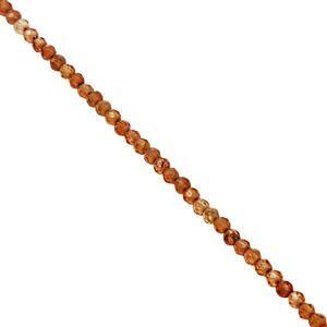 15cts Hessonite Garnet Faceted Round Approx 2mm, 38cm Strand