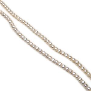 White Freshwater Cultured Potato Pearls Approx 8-9mm, 38cm Strand (2pcs)