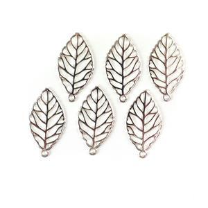 Silver Plated Base Metal Leaf Pendants Approx 33x17mm (6pcs)