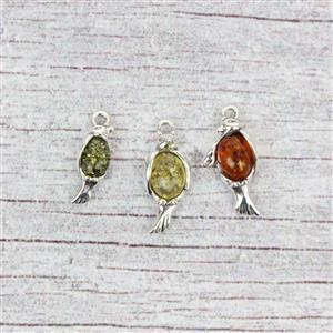 925 Silver Baltic Multi-Colour Amber Oval Cabochon Bird Family Charms Approx 11x18mm, 8x19mm 6x16mm (3pcs)