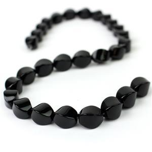 300cts Black Agate Twist Bead Approx 14x10mm, 38cm Strand