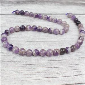 170cts Dog Tooth Amethyst Plain Rounds Approx 8mm 38cm strand