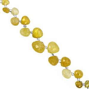 45cts Yellow Diopside Graduated Faceted Heart Approx 4.50 to 10mm, 20cm Strand with Spacers