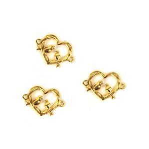 Gold Plated 925 Sterling Silver Entwined Love Birds Connectors Approx 11x16mm 3pcs