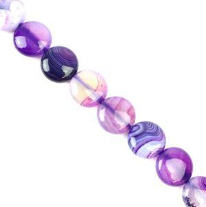 300cts Purple Stripe Agate Puffy Coins Approx 16mm, 38cm/strand